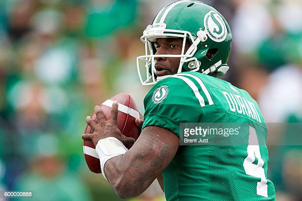 Darian Durant of the Saskatchewan Roughriders looks to throw during the game between the Winnipeg Blue Bombers and Saskatchewan Roughriders at Mosaic...