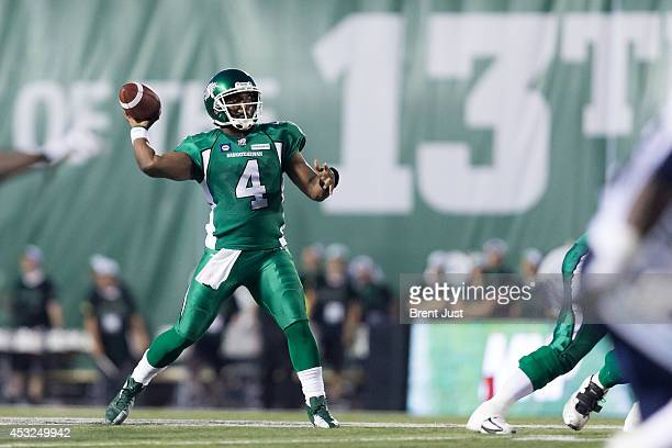 Darian Durant of the Saskatchewan Roughriders throws a pass in a game between the Toronto Argonauts and Saskatchewan Roughriders in week 5 of the...