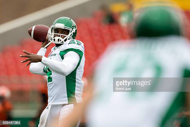 Darian Durant of the Saskatchewan Roughriders throws a pass in pregame warmup for the preseason game between the BC Lions and Saskatchewan...