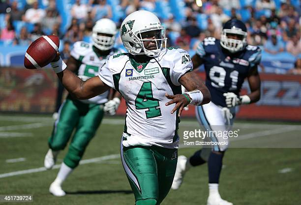 Darian Durant of the Saskatchewan Roughriders throws during CFL game action against the Toronto Argonauts on July 5 2014 at Rogers Centre in Toronto...