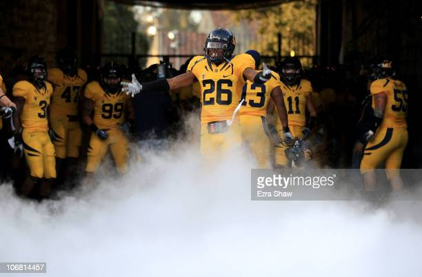 Darian Hagan of the California Golden Bears enters the stadium for their game against the Oregon Ducks at California Memorial Stadium on November 13...