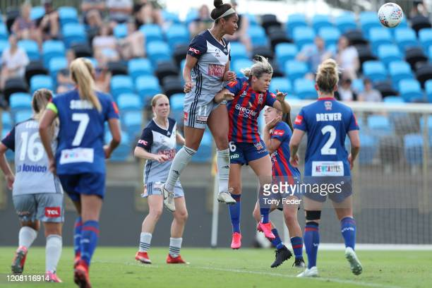 Darian Jenkins of Melbourne Victory scores a goal during the round 13 W-League match between the Newcastle Jets and the Melbourne Victory at No.2...