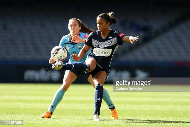 Darian Jenkins of the Victory controls the ball under pressure during the round 14 WLeague match between the Melbourne Victory and Sydney FC at...
