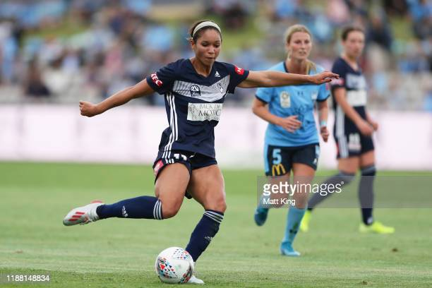 Darian Jenkins of the Victory takes a shot on goal during the round 1 WLeague match between Sydney FC and Melbourne Victory at Netstrata Jubilee...