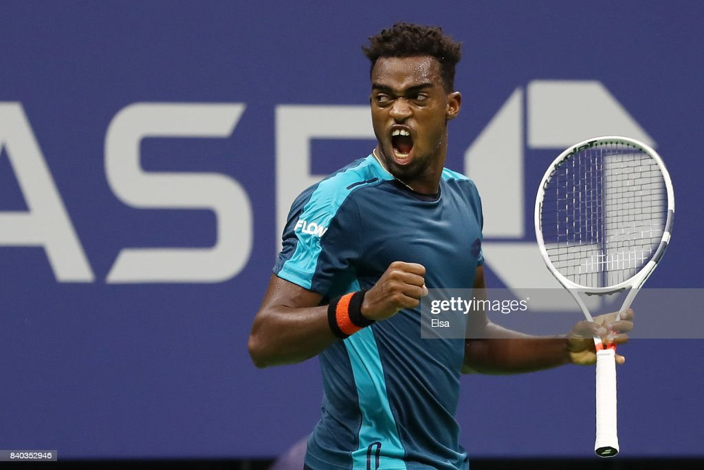 Darian King of Barbados reacts against Alexander Zverev Jr. of Germany during their first round Men's Singles match on Day One of the 2017 US Open at the USTA Billie Jean King National Tennis Center on August 28, 2017 in the Flushing neighborhood of the Queens borough of New York City.