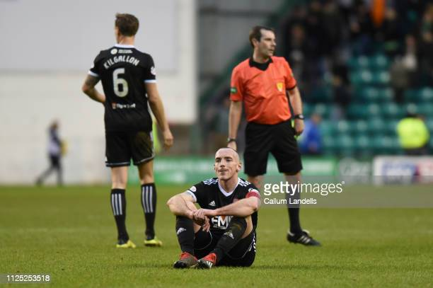 Darian MacKinnon of Hamilton Academical FC appears to be deflated after the Ladbrokes Premiership match between Hibernian and Hamilton Academical at...