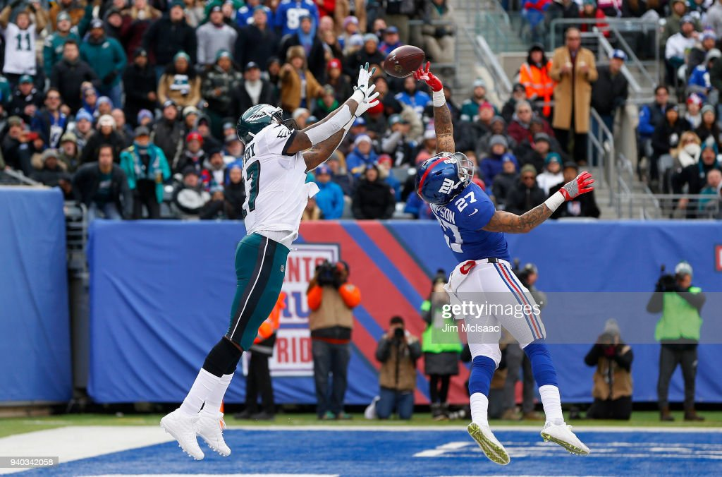 Darian Thompson #27 of the New York Giants in action against Alshon Jeffery #17 of the Philadelphia Eagles on December 17, 2017 at MetLife Stadium in East Rutherford, New Jersey. The Eagles defeated the Giants 34-29.