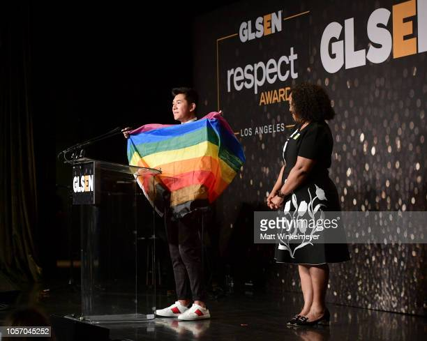 Darid Prom and Shonda Rhimes attend the GLSEN Respect Awards at the Beverly Wilshire Four Seasons Hotel on October 19 2018 in Beverly Hills California