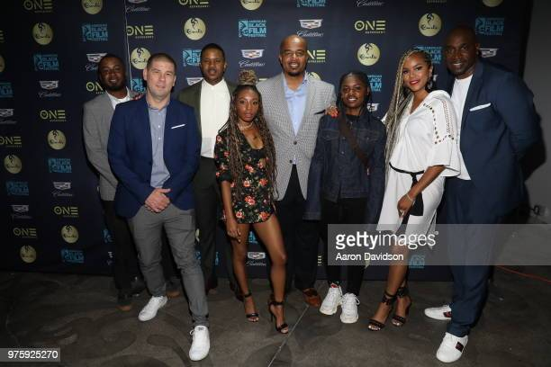 Darien Baldwin Eric Tomosunas Hosea Chanchez Imani Hakim Tim Folsome BreZ Letoya Luckett and Keith Neal attend TV One Private Dinner during American...
