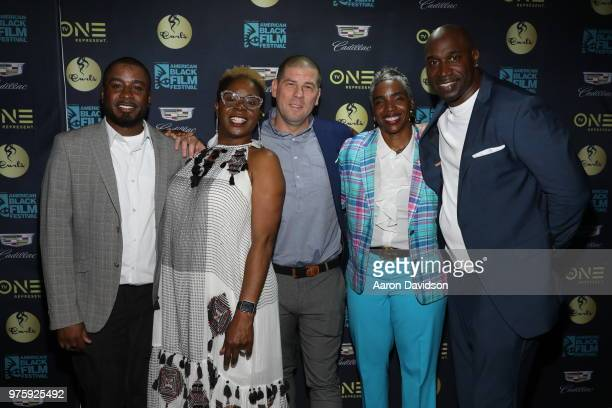 Darien Baldwin Robyn Greene Arrington Eric Tomosunas Kenyette Newman and Keith Neal attend TV One Private Dinner during American Black Film Festival...