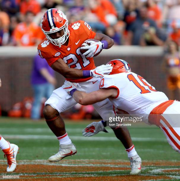 Darien Rencher is tackled by Bayton Spector during action in the Clemson Spring Football game on April 14 at Clemson Memorial Stadium in Clemson SC