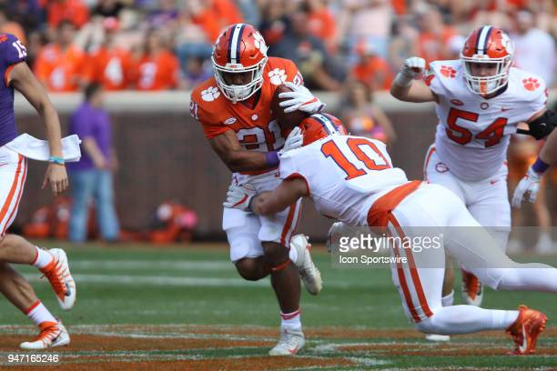 Darien Rencher runs with the ball during action in the Clemson Spring Football game at Clemson Memorial Stadium on April 14 2018 in Clemson SC