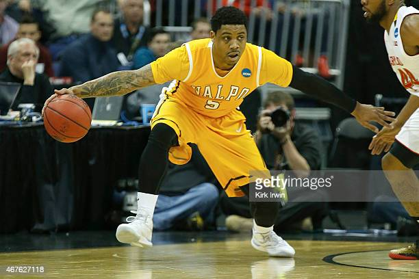 Darien Walker of the Valparaiso Crusaders controls the ball during the second round of the 2015 NCAA Men's Basketball Tournament at Nationwide Arena...