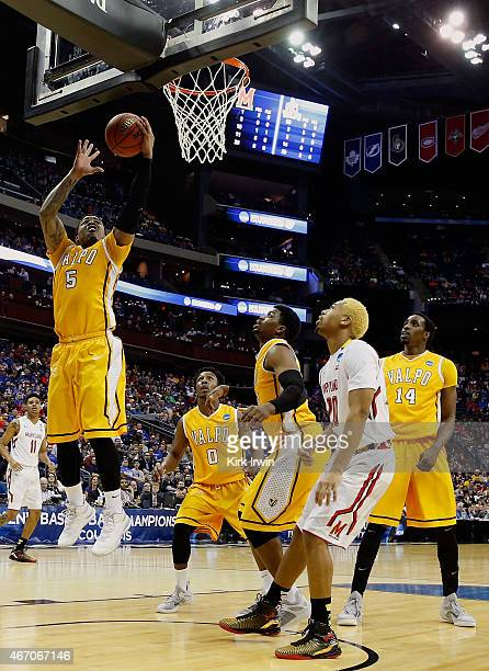 Darien Walker of the Valparaiso Crusaders grabs a rebound during the first half against the Maryland Terrapins during the second round of the Men's...