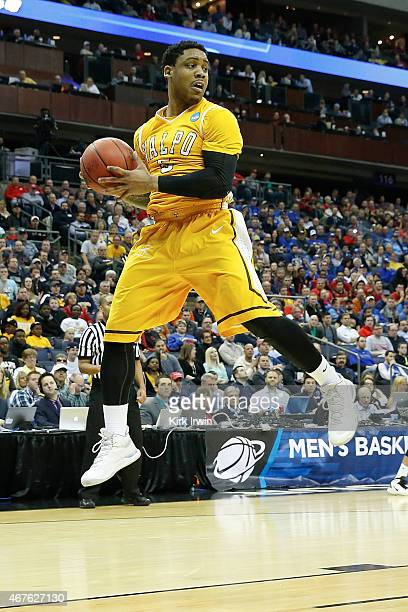 Darien Walker of the Valparaiso Crusaders grabs a rebound during the second round of the 2015 NCAA Men's Basketball Tournament at Nationwide Arena on...