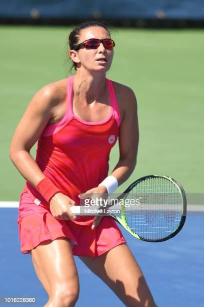 Darija Jurak of Croatia prepares for a shot during the Women's Doubles semifinal against Belinda Bencic of Switzerland and Anhelina Kalinina of...