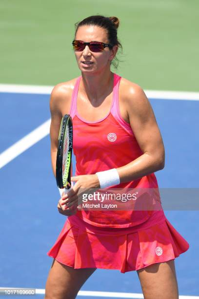 Darija Jurek of Croatia in position for a shot during the Women's Doubles final against Alexa Guarachi of Chile and Erin Routliffe of New Zealand on...