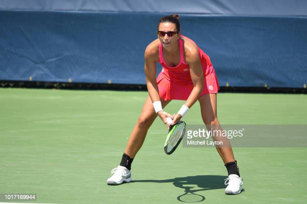 Darija Jurek of Croatia prepares for a shot during the Women's Doubles final against Alexa Guarachi of Chile and Erin Routliffe of New Zealand on Day...