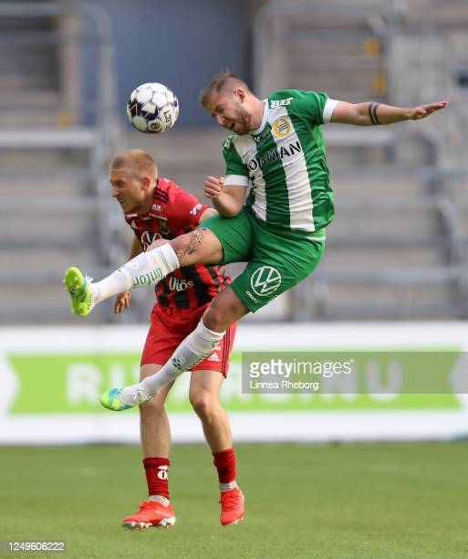 Darijan Bojanic of Hammarby wins a header over Simon Kroon of Ostersund during the Allsvenskan match between Hammarby IF and Ostersunds FK at Tele2...