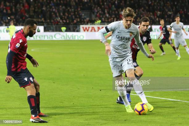 Darijo Srna of Cagliari in contrast with Nicolò Zaniolo of ROma during the Serie A match between Cagliari and AS Roma at Sardegna Arena on December 9...