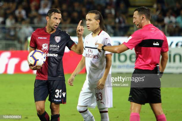 Darijo Srna of Cagliari reacts during the serie A match between Cagliari and AC Milan at Sardegna Arena on September 16 2018 in Cagliari Italy