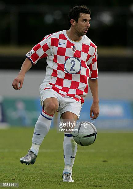 Darijo Srna of Croatia in action during the 2006 World Cup qualifying match between Iceland and Croatia at Laugardalsvollur Stadium on September 3 in...