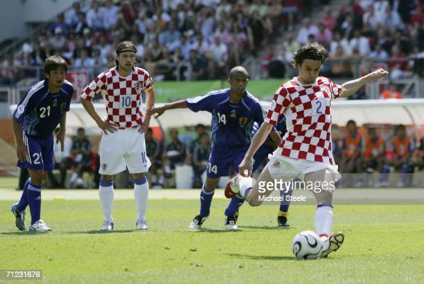 Darijo Srna of Croatia takes a penalty which is saved by Goalkeeper Yoshikatsu Kawaguchi of Japan during the FIFA World Cup Germany 2006 Group F...