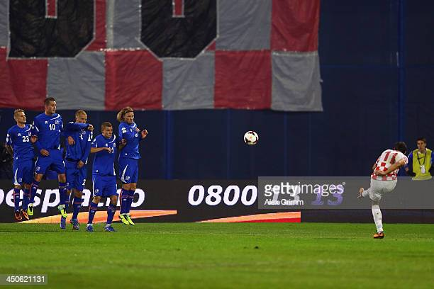 Darijo Srna of Croatia tries to score with a freekick during the FIFA 2014 World Cup Qualifier playoff second leg match between Croatia and Iceland...