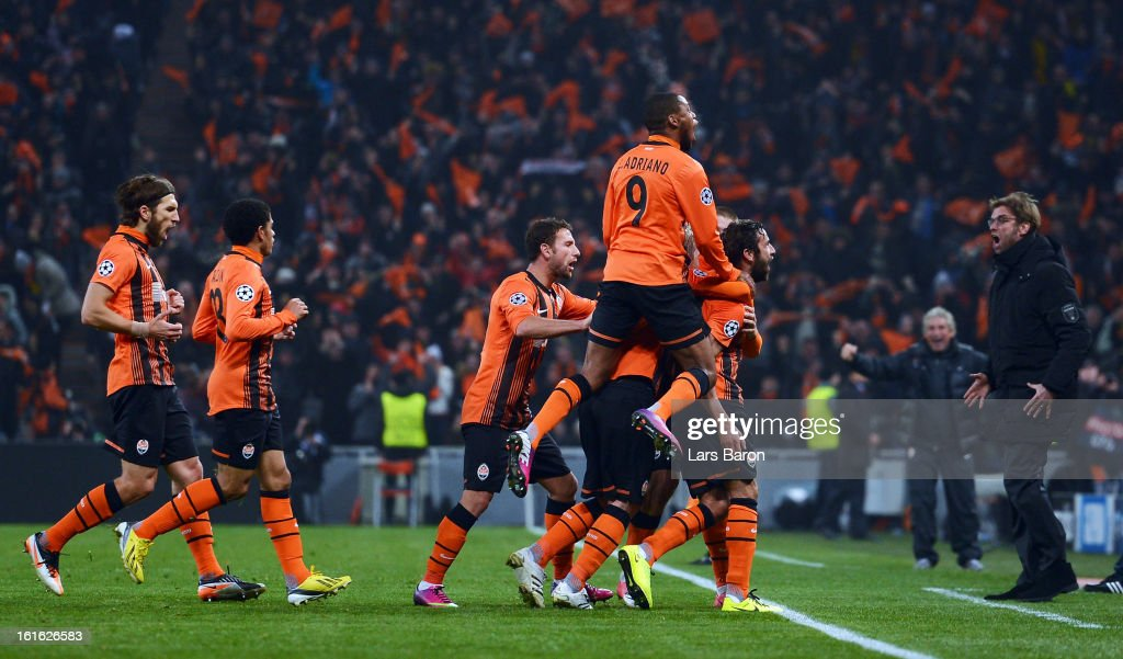 Darijo Srna of Donetsk celebrates after scoring his teams first goal during the UEFA Champions League Round of 16 first leg match between Shakhtar Donetsk and Borussia Dortmund at Donbass Arena on February 13, 2013 in Donetsk, Ukraine.