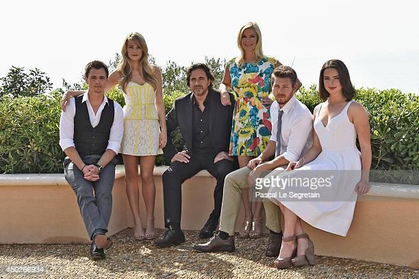 Darin Brooks, Kim Matula, Thorsten Kaye, Katherine Kelly Lang, Scott Clifton and Ashleigh Brewer attend a photocall at Monte Carlo Bay resort on June...