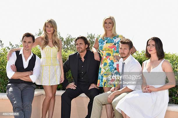 Darin Brooks Kim Matula Thorsten Kaye Katherine Kelly Lang Scott Clifton and Ashleigh Brewer pose during a photocall for the TV Show ' The Bold and...