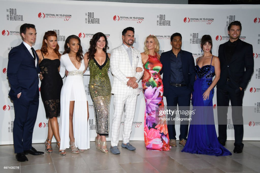 Darin Brooks,Courtney Hope,Reign Edwards,Heather Tom,DonDiamont,Katherine Kelly Lang,Rome Flynn,Jacquelines MacInnes Wood and Pierson Fode attend the 'The Bold and The Beautiful' 30th Years anniversary during the 57th Monte Carlo TV Festival : Day 3 on June 18, 2017 in Monte-Carlo, Monaco.