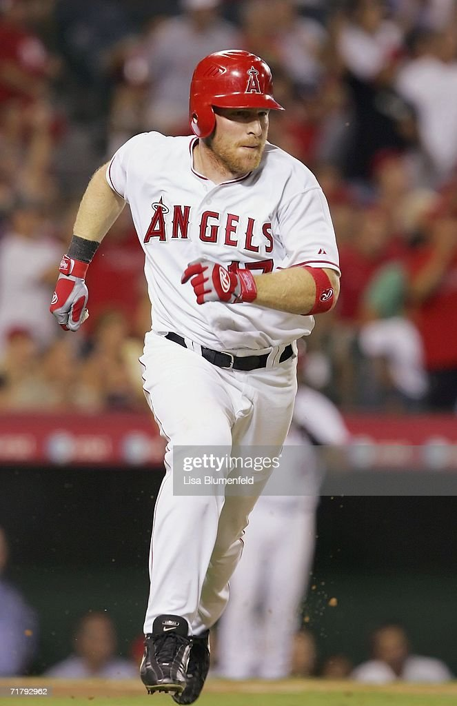Darin Erstad #17 of the Los Angeles Angels of Anaheim runs the bases after hitting a double in the ninth inning against the Baltimore Orioles on September 5, 2006 at Angel Stadium in Anaheim, California. The Angels won 5-2.