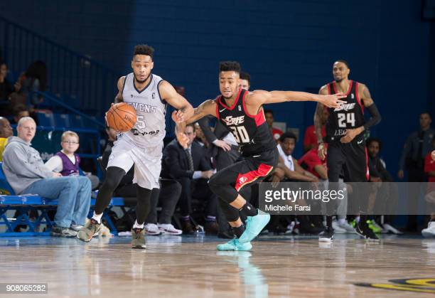 Darin Johnson of the Delaware 87ers handles the ball against the Erie BayHawks during an NBA GLeague game on January 20 2018 at the Bob Carpenter...