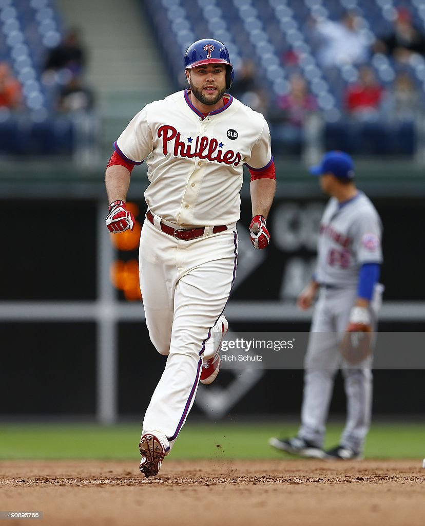 Darin Ruf #18 of the Philadelphia Phillies circles the bases after he hit a two run home run during the fourth inning against the New York Mets in a MLB game at Citizens Bank Park on October 1, 2015 in Philadelphia, Pennsylvania. The Phillies defeated the Mets 3-0.