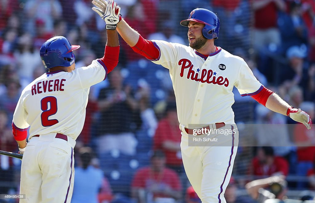 Darin Ruf #18, right, of the Philadelphia Phillies is congratulated by teammate Ben Revere #2 after hitting a home run during the seventh inning of a game at Citizens Bank Park on April 12, 2015 in Philadelphia, Pennsylvania.