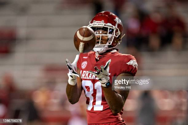Darin Turner of the Arkansas Razorbacks warms up before a game against the Tennessee Volunteers at Razorback Stadium on November 7, 2020 in...