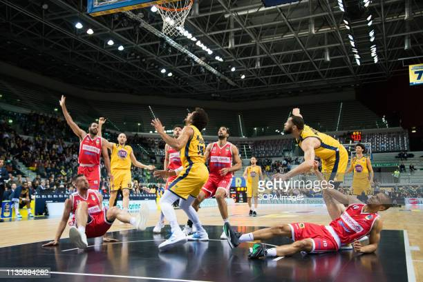 Darington Hobson Marco Cusin Tyler Cain and Thomas Scrubb are seen in action during the Eurocup match between Auxilium Fiat Torino and Openjobmetis...