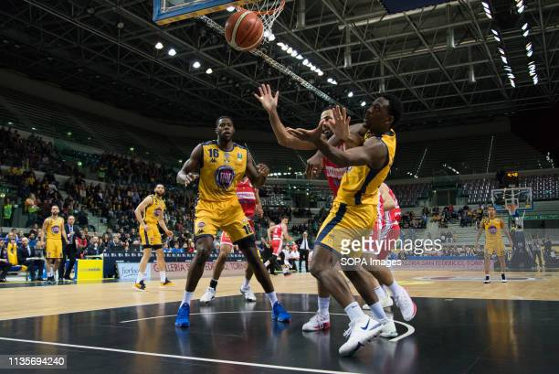 Darington Hobson Marco CusinTyler Cain and Thomas Scrubb are seen in action during the Eurocup match between Auxilium Fiat Torino and Openjobmetis...