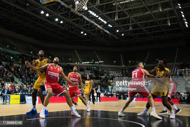 Darington Hobson, Marco Cusin,Tyler Cain and Thomas Scrubb are seen in action during the Euro-cup match between Auxilium Fiat Torino and Openjobmetis...