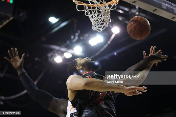 Darington Hobson of the Hawks lays up a shot during the round 15 NBL match between the Illawarra Hawks and the Perth Wildcats at the WIN...