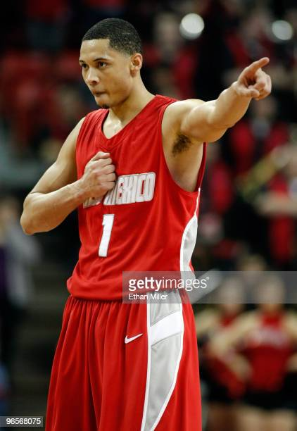 Darington Hobson of the New Mexico Lobos gestures on the court during the team's 76-66 victory over the UNLV Rebels at the Thomas & Mack Center...