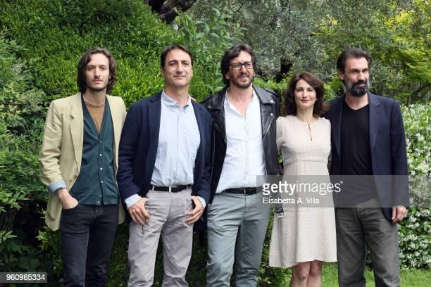 Dario Aita Claudio Fava director Daniele Vicari Lorenza Indovina and Fabrizio Gifuni attend a photocall for 'Prima Che La Notte' Rai Fiction at Viale...