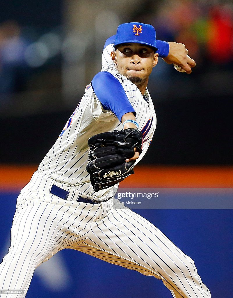 Dario Alvarez #68 of the New York Mets pitches in the ninth inning against the Washington Nationals at Citi Field on September 13, 2014 in the Flushing neighborhood of the Queens borough of New York City.