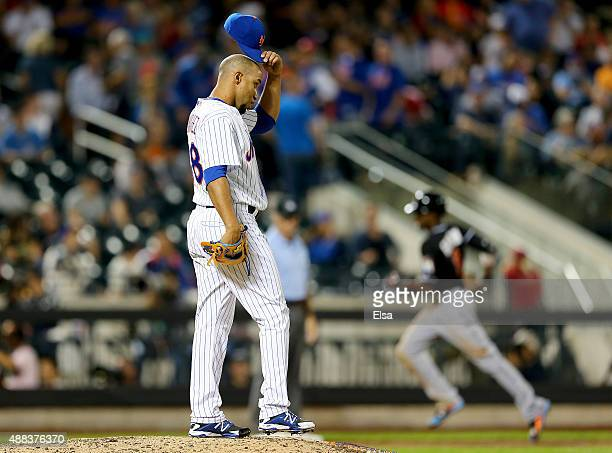 Dario Alvarez of the New York Mets reacts after Dee Gordon of the Miami Marlins hit a two run homer in the ninth inning on September 15 2015 at Citi...