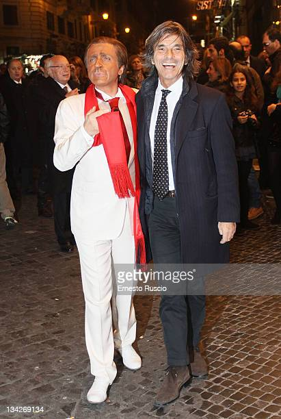 Dario Ballantini and Roberto Alessi attend Il Vizietto La Cage aux Folles Opening Night at Teatro Sistina on November 29 2011 in Rome Italy