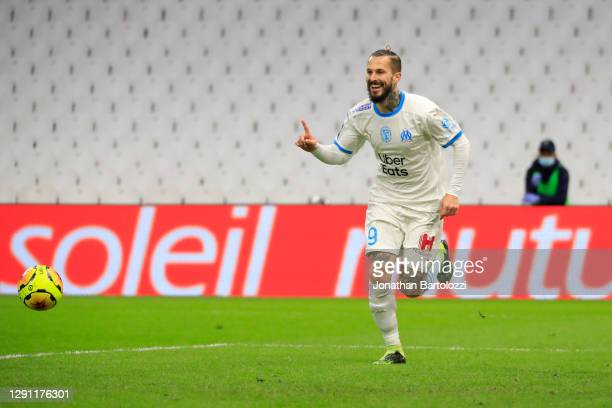 Dario Benedetto goal during the Ligue 1 match between Olympique Marseille and AS Monaco at Stade Velodrome on December 12, 2020 in Marseille, France.