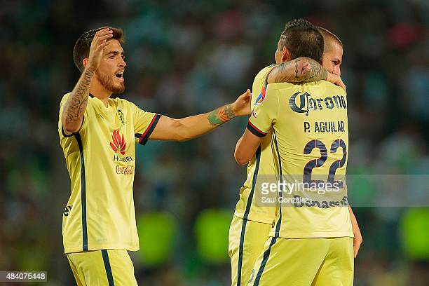 Dario Benedetto of America celebrates after scoring the second goal of his team during a 5th round match between Santos Laguna and America as part of...