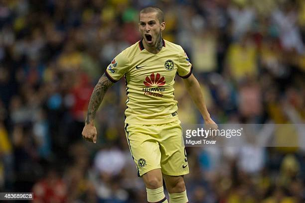 Dario Benedetto of America celebrates after scoring the third goal of his team during a 4th round match between America and Dorados as part of the...