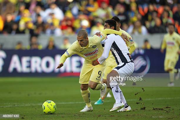 Dario Benedetto of America drives the ball during a friendly match between America and Monterrey at BBVA Compass Stadium on January 03 2015 in...